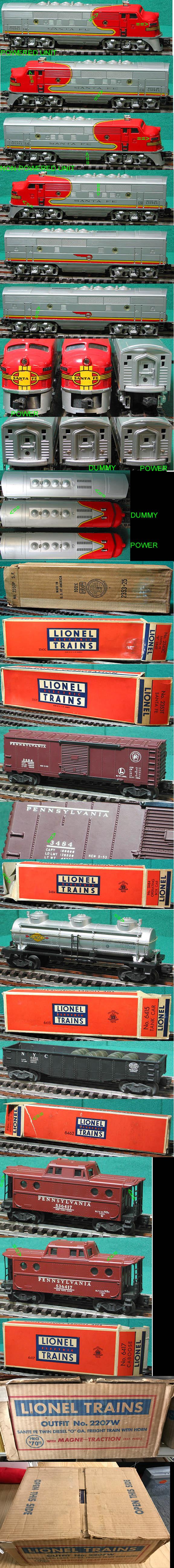 lionel 2207w santa fe 2353 f3 aba triple diesel freight set ebay rh ebay com Lionel 2343 Army Santa Fe Lionel Set